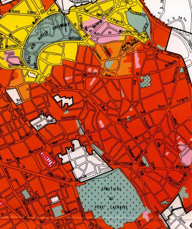 cadrage C / plan de zonage du Plan d'Occupation des Sols de la Ville de Paris, 1995 (le secteur UHa est en rouge)